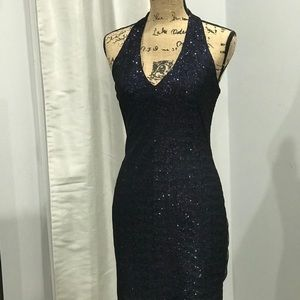 Suzi Chin for Maggy Boutique Dresses - Suzi Chin blue halter sequined dress 4